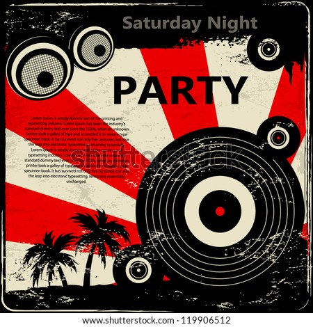 Red retro party flyer - stock vector