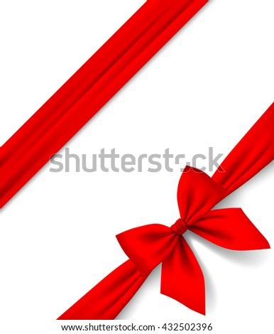 Red ribbon and bow isolated on white background. Gift package and greeting card. Vector illustration - stock vector