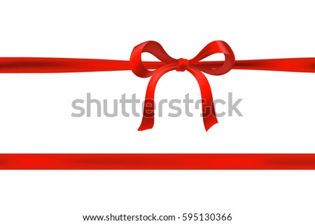red ribbon and bow on white. vector