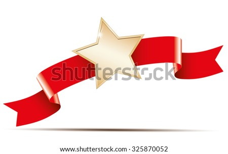 Red ribbon and gold star banner - stock vector
