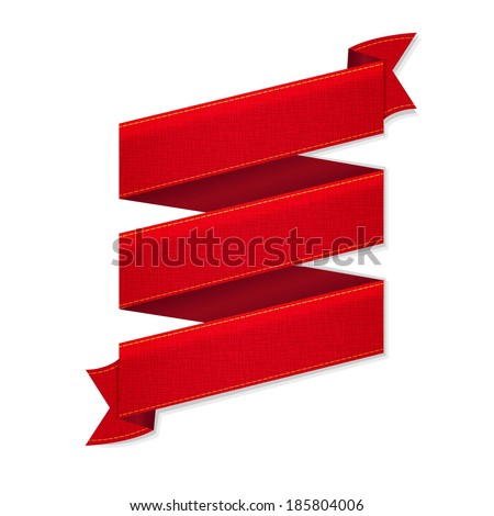 Red Ribbon Banner, With Gradient Mesh, Vector Illustration - stock vector