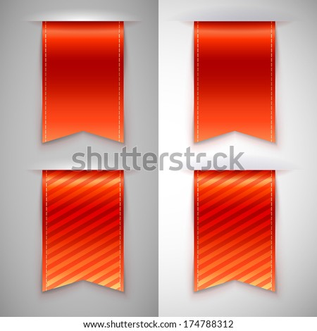 Red ribbon bookmark for books. Set of vector icons on a contrasting background - stock vector