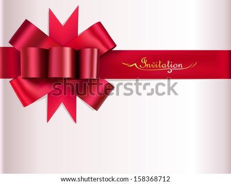Red ribbon bow invitation, vector illustration. - stock vector