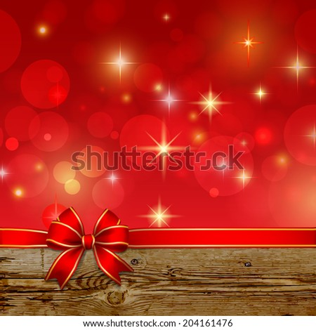 Red ribbon bow with bokeh,Christmas decoration