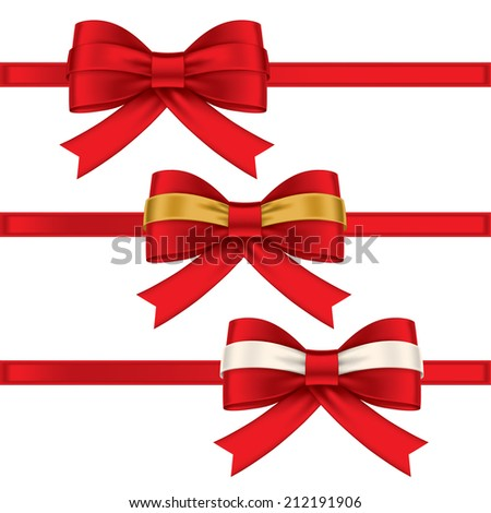 red ribbon, colorful gift bows with ribbons - stock vector