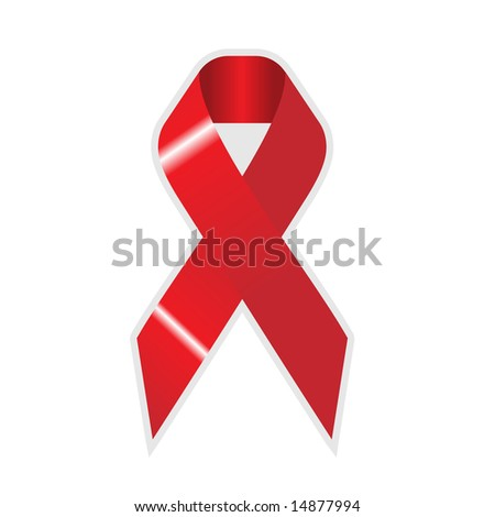 red ribbon cross on on white background, wallpaper