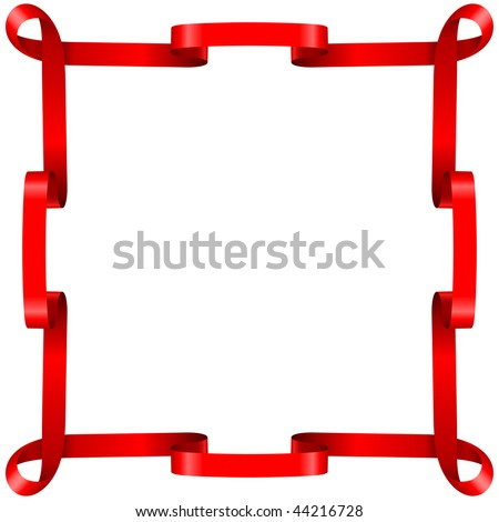 Red ribbon frame isolated on white background. - stock vector
