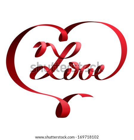 Red ribbon in shape of heart and lettering love - stock vector