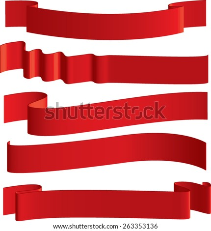 red ribbon patterns - stock vector