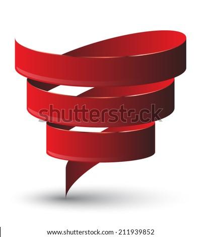 Red ribbon twist. Vetor illustration. - stock vector