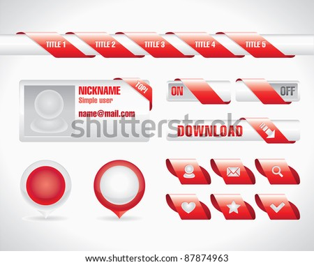 Red Ribbon User Interface Set - stock vector