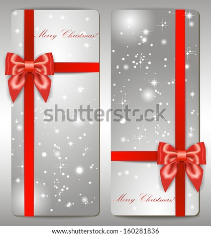 Red ribbon with bow, Merry Christmas