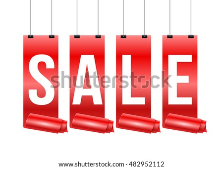 Red ribbon with SALE for promotion discount. Vector illustration.