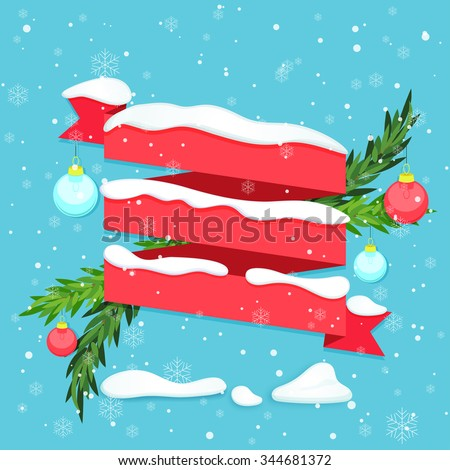 Red ribbon with snow, baubles and fir branches. Vector illustration - stock vector
