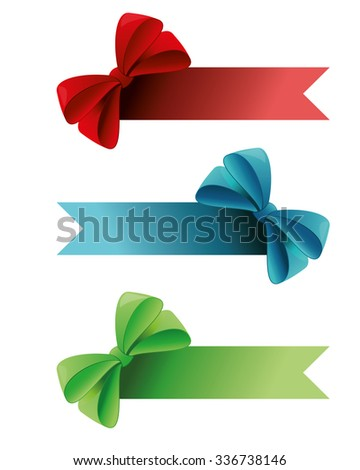 red ribbons and bows - stock vector