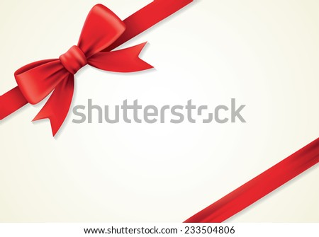 Red ribbons and greeting card, bows, Vector, new year, gift - stock vector