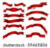 red ribbons, banners set - stock vector