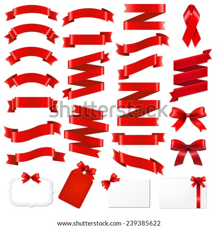 Red Ribbons Big Set With Gradient Mesh, Vector Illustration - stock vector