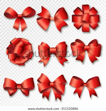 Red ribbons set for gifts. Red gift bows with ribbons vector illustration. Red gift ribbons and bows for New Year celebrate. Christmas ribbons, birthday gifts. Birthday ribbons, birthday gifts - stock vector