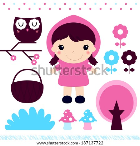 Red Riding Hood design elements set - stock vector