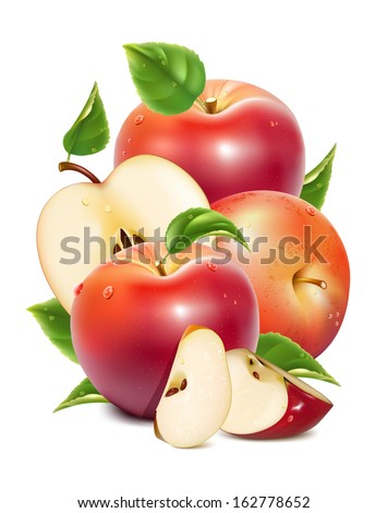 Red ripe apples and apples slices with green leaves and water drops. Photo-realistic vector illustration - stock vector