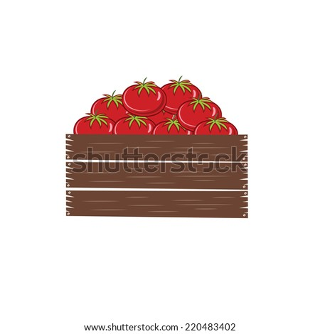 red ripe tomatoes in crate vector illustration isolated on white backgroud - stock vector