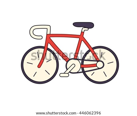 Red road bicycle icon isolated.