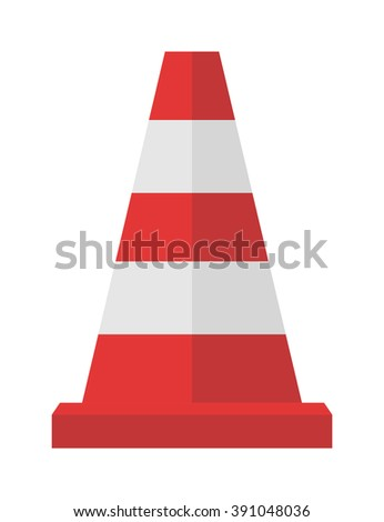 Red road cones barrier and street warning traffic cone flat icon. Construction of red road cones with stripes attention symbol cartoon flat vector illustration.  - stock vector