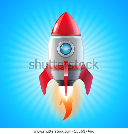 Red Rocket Icon - stock vector