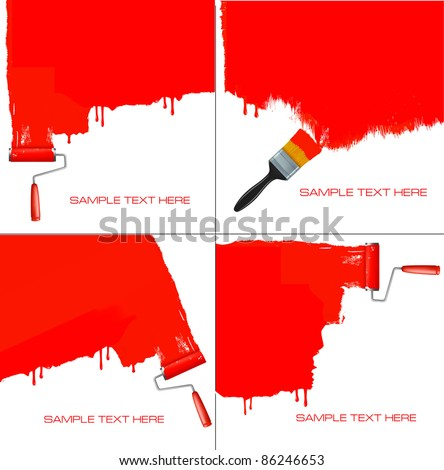 Red roller painting the white wall. Background vector. - stock vector