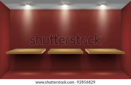 Red room with three empty wooden shelf, illuminated by searchlights. Part of set. Vector interior. - stock vector