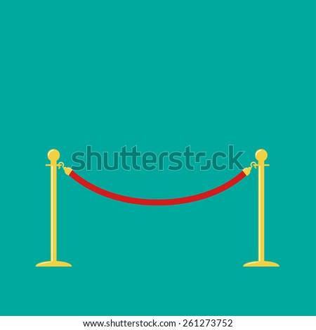 Red rope golden barrier stanchions turnstile on green background Flat design Vector illustration - stock vector