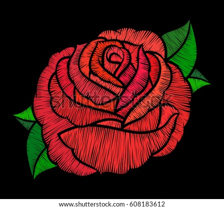 Red rose embroidery on black background.