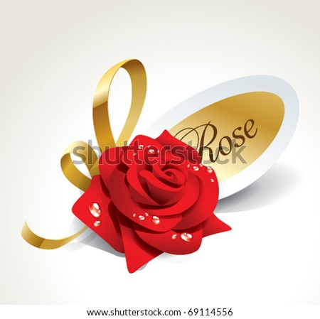 Red rose in dewdrops with golden ribbon and paper sticker. Vector illustration. - stock vector