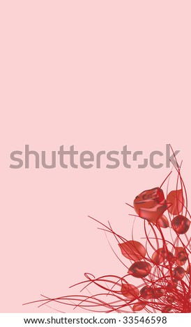 Red rose on the ping background - stock vector