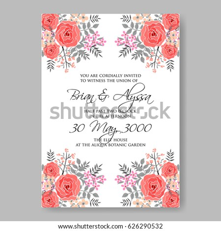 Red Rose Wedding Invitation Vector Template