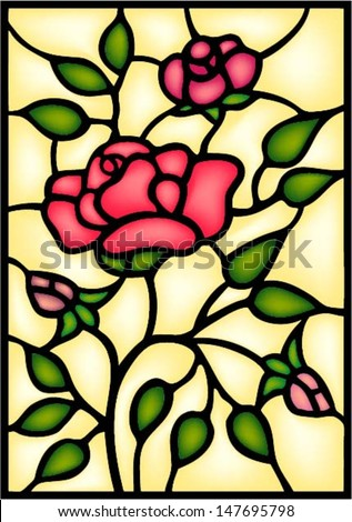 Red Roses And Bouton Stained Glass Window