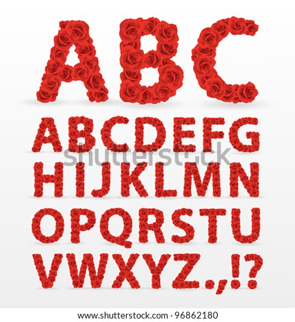 Red Roses font. Check my portfolio for other letters — numbers and lowercase letters.