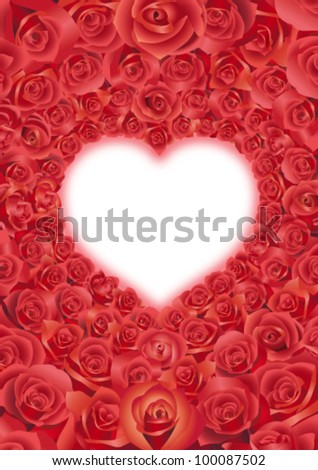 red roses in a heart shape (middle size A) - stock vector
