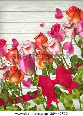 Red roses on wooden background. Valentines day background. EPS 10 vector file included - stock vector