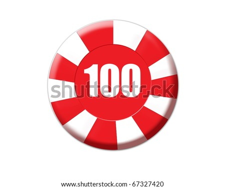 Red roulette chip isolated on white, vector illustration - stock vector
