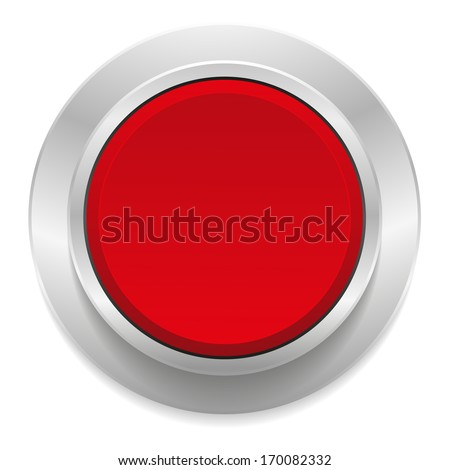 Red round button with metallic border - stock vector