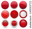 Red round buttons in nine different forms - stock