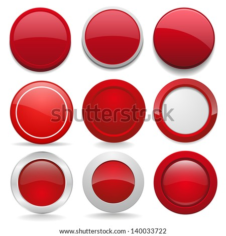 Red round buttons in nine different forms - stock vector
