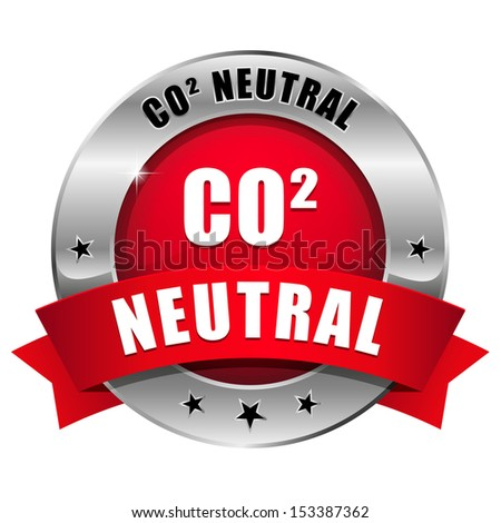 Red round carbon dioxide neutral button - stock vector