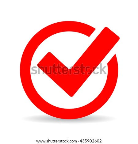Red round checkbox icon vector illustration isolated on white background - stock vector