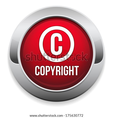 Red round copyright button with metallic border - stock vector