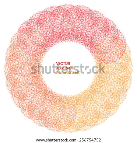 Red, round, geometric abstract background - stock vector