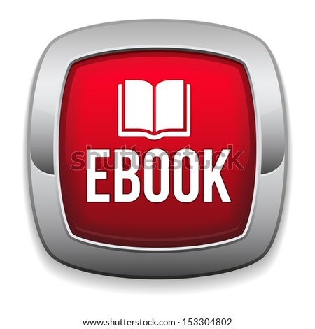 Red rounded e-book button - stock vector