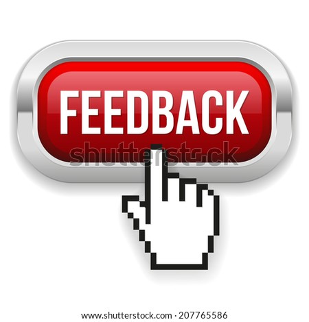 Red rounded feedback button with metallic border on white background